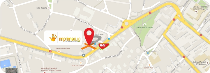 Harta localizare imprimari.ro respectiv Dura Lex srl Sibiu