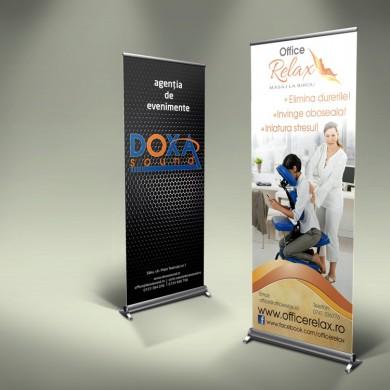 Sistem de expunere Roll-Up, grafica imprimata pe banner sau polipropilena