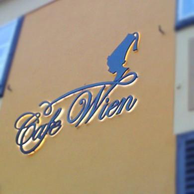 litere volumetrice iluminate, imprimari.ro, Cafe Wien
