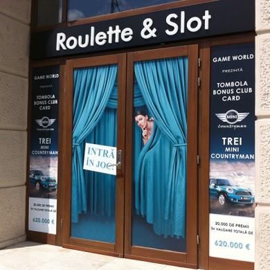 inscriptionari vitrina autocolant, imprimari.ro, Roulette & Slot