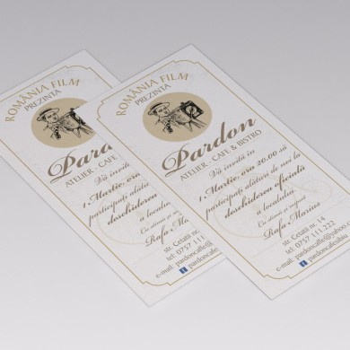 Invitatie deschidere Cafe Bistro Pardon. Format DL(100x210mm)