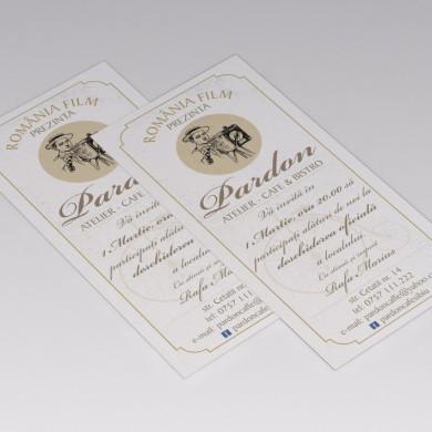 Invitatie deschidere Cafe Bistro Pardon. Format DL(100x210mm)